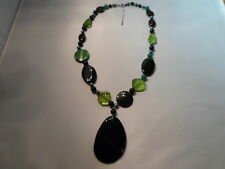 "Black & Green Agate, Shell Pearl & Glass Bead Necklace, 20""-134.00 Carats"