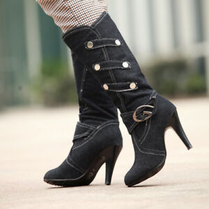 Ladies Sexy Denim Knee High Boots Buckle Stiletto High Heels Pump Party Shoes 39
