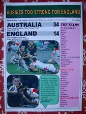 Australia 34 England 14 - 2010 Rugby League Four Nations - souvenir print