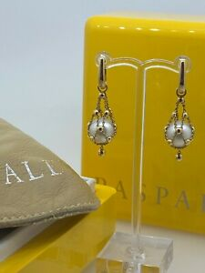 Superb Paspaley Lavalier Round Pearl Earrings in 18K Yellow Gold. Original Box.