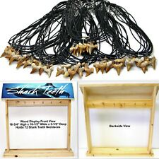 72 Pc Lot Shark Tooth Necklaces w_ Free Wood Counter Display Great Sharks Teeth