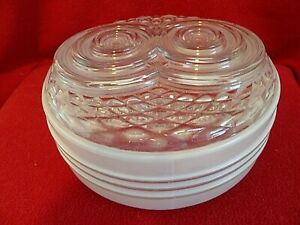 "Vintage glass ceiling globe 7"" opening, white washed sides ""owl eyes"""