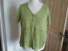 Per Una Lime Green Lace Knit V Neck Short Sleeve Cardigan XL 18
