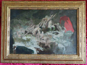 FRENCH VINTAGE OIL PAINTING ON BOARD IN STYLE OF Théodore Géricault.