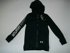 UNDER ARMOUR Black RIVAL Full Zip Hoodie Sweatshirt JACKET Girls LARGE / 14 NEW