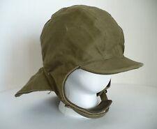 Vintage WWII USN U.S. Navy Green Deck Hat Cap w Adjust Strap. Winter Cold. 7 1/2
