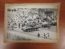 Vtg Wire AP Press Photo US Panama City Invasion Armored Tank Blockade Balboa Ave