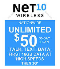Net10 preloaded SIM with $50.00 plan 16GB (DOUBLE DATA OFFER ENDS NOV 11)