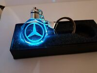 Mercedes Benz A.B,C E Class Car Keyring Crystal LED Light Gift  Keychains XMAS