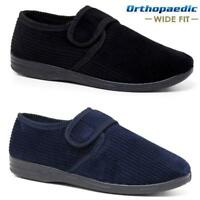 MENS DIABETIC ORTHOPAEDIC EASY CLOSE WIDE FITTING STRAP SLIPPERS SHOES SIZE 6-14