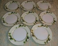 "8 Kent Japan Bali Hai 6 5/8"" Bread & Butter Plates Bamboo On Cream Band Gold EUC"