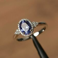 3.35Ct Oval-Cut Blue Sapphire Diamond Halo Engagement Ring 14K White Gold Finish