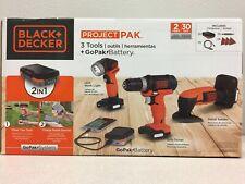 Black and Decker BDCK503C1 GoPak Cordless 3 tool Drill, LED Light and Sander Kit