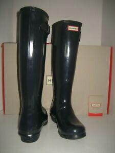 NEW Women HUNTER Original Tall Gloss Knee-High US 9 EU40/41 Navy Blue Rain Boots