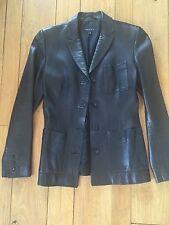 AUTHENTIC Gucci GG Black leather jacket blazer blouse top dress 38 S/M