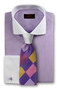 Dress Shirt Only by Steven Land Classic Fit French Cuff- Lilac/Purple -DW1730-PU