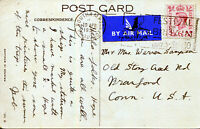 1951 South Hampton Paquebot Air Mail Postcard To USA  with 1937 Stamp