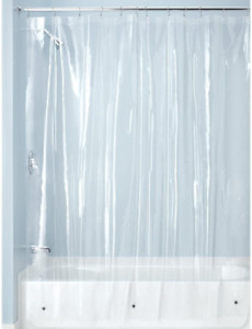 Idesign Fabric Shower Curtains, Waterproof Polyester Curtain 180 X 200 Cm, Trans