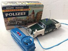Vintage tnplate battery operated Mercedes Police Car Boxed Japan