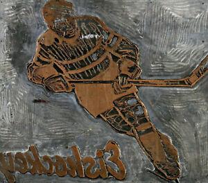 Metallrelief Künstlerdruckplatte - Eishockey Spieler