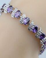 Purple Amethyst  White Topaz Flanked Tennis Sterling Silver Gemstone Bracelet