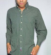Tommy Hilfiger Check Oxford Shirt Mens Vintage Green Buttoned Collar 15.5 Medium