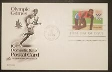 Olympics 1980 Postal Card FDC 10 Cents Scott UX80 Art Craft