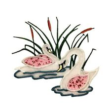 ID 0506 Pair of Swans Swimming Patch Cat Tail Lake Embroidered Iron On Applique