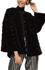 NWT TOPSHOP Black Plush Velvet Teardrop-Shaped Beaded Swingy Kimono Jacket  8 US