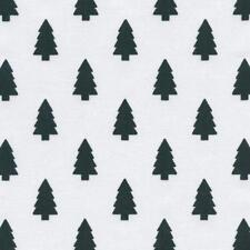 Textiles français Christmas Trees fabric - Black Trees on Snow White 100% Cotton
