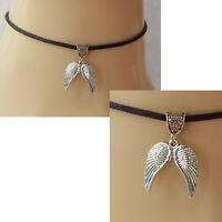 Angel Wings Choker Necklace Silver Handmade Black Women New Fashion Wing