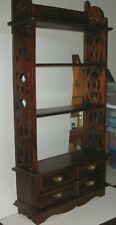 "Antique Handmade 4 Shelves 4 Drawers Carved 44 1/4"" High Can be hung on wall."