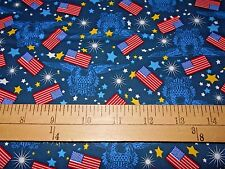 2 yards Santee  Eagles Stars & Flags on Navy Patriotic Fabric