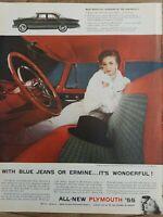 1955 Plymouth Belvedere 4 door sedan car red interior vintage original ad