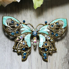 Vintage Style BLUE Butterfly Wedding Bridal Rhinestone Crystal Pin Brooch Craft