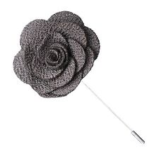 Gray Knit Microfiber Flower Lapel Pin by The Accessorized Man