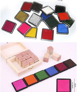 CHOOSE YOUR COLOUR! Coloured Ink Pad Stamping Crafts Wood Paper - 15 COLOURS!