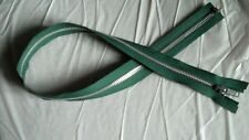 26 inch Dark Green & Aluminum #5 Metal Separating Zipper YKK New!