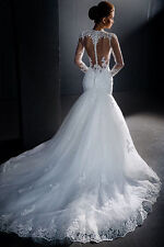Mermaid White/ivory Wedding dress Bridal Gown custom size 6-8-10-12-14-16
