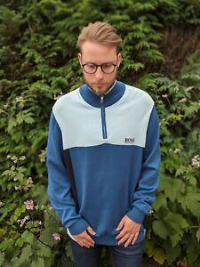Hugo Boss XXL Blue Block Colour Sweatshirt Men's 1/4 Zip Zelchior Pro Golf