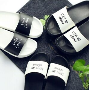 Women SLIDES with Note Leave me Alone & Hello Cactus Black & White