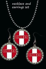 Kansas city Chiefs  earring earrings & necklace set great gift