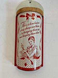 Vintage 1950s Red White Enamel Tin Wall Mount Knife Holder