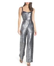 NWT Dress the Population Victoria Sequin Wide Leg Jumpsuit SILVER Sz XL