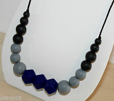 Mommy Baby Silicone Teething Nursing Necklace Teether Jewelry Black Navy Purple