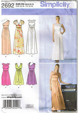 Grecian Style V Neck Dress One Shoulder Inset Empire Sewing Pattern 4 6 8 10 12