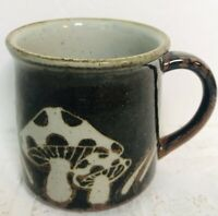 Merry Mushroom Coffee Cups Brown Mug Vintage 1970's Ceramic Unmarked