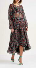 SCANLAN THEODORE Black Red Blue Printed Georgette Hi-Lo Hem Midi Skirt M