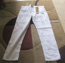 SMOKE RISE WHITE RIP DENIM  100% COTTON size   38/34  ***