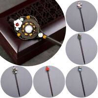 Chinese Style Wooden Hair Chopstick Stick Pin Handmade Elegant Flower Hairpin